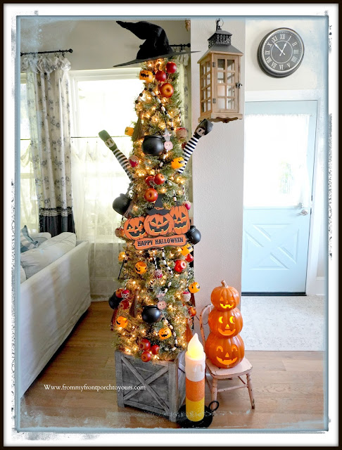 Fun Vintage Halloween Festive Christmas Tree-Slim Tree-From My Front Porch To Yours