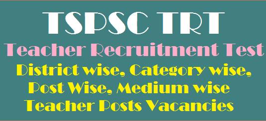 Teacher Post Vacancies, Teacher Recruitment Test, TS DSC, TS Jobs, TSPSC, TSPSC TRT