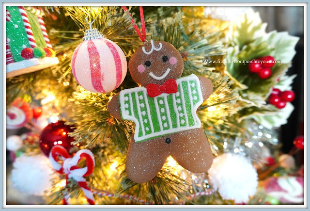 Cottage -Farmhouse -Christmas- Trees-Gingerbread- Boy-Ornament-From My Front Porch To Yours