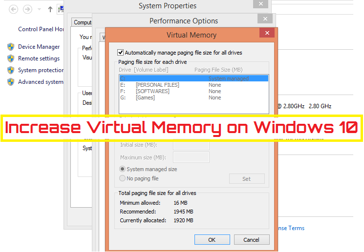 How to change virtual memory size on Windows 10