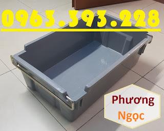 Thùng nhựa đựng linh kiện có quai sắt, sóng nhựa bít A2, thùng nhựa đặc A2 có quai