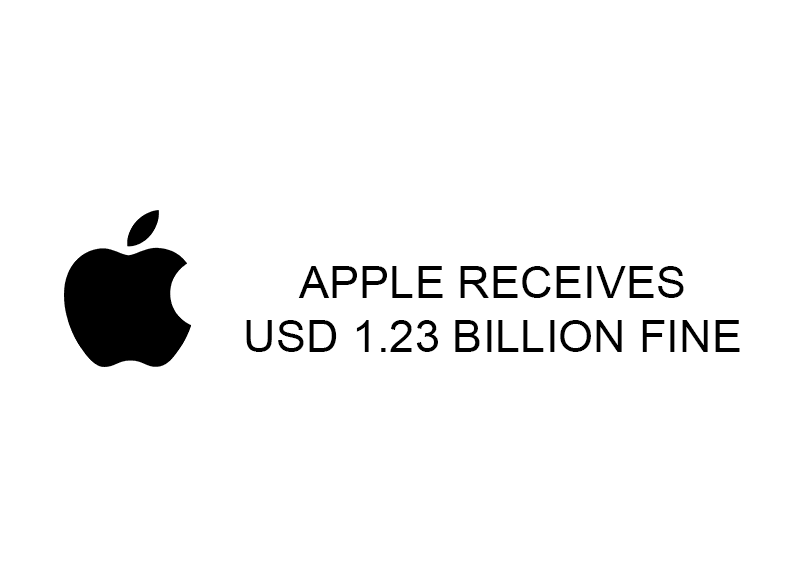Apple receives USD 1.23 billion fine