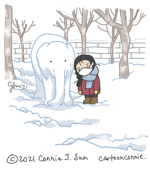 Sketchbook illustration of an elephant made of snow and a lonely character, by Connie Sun, cartoonconnie