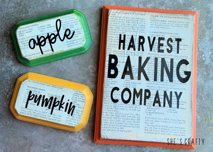 Easy DIY wooden signs for Fall - Harvest Baking Company sign, pumpkin sign, apple sign