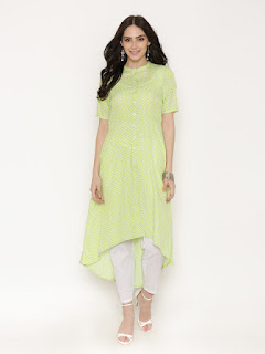 Alom Women Green Printed Anarkali Kurta