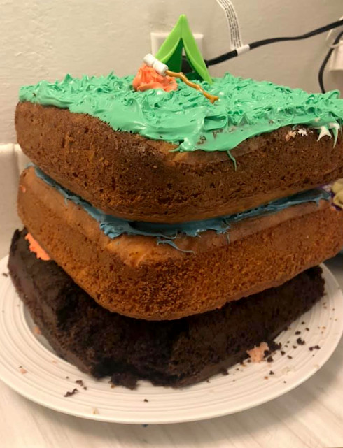 This shows the layers of the cake.