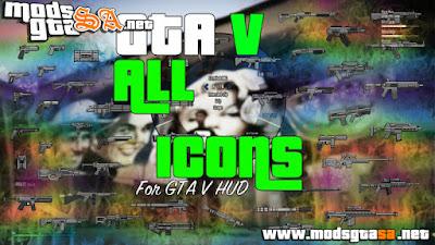 Mod Todos os Ícones das Armas do GTA V para GTA SA