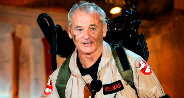 Bill Murray vestido de Cazafantasmas