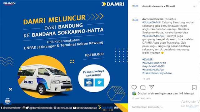 Tarif Damri Bandara Soekarno Hatta ke Bandung