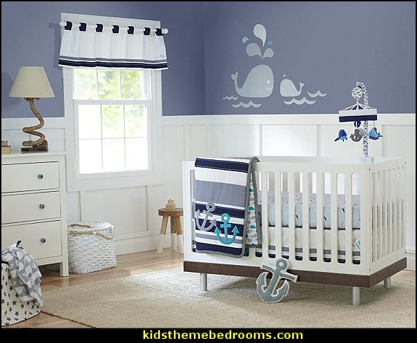 Just Born Crib Bedding Set, High Seas   whale nursery decor - whale nursery lamp - whale nursery ideas - whale nursery bedding - whale baby bedrooms - whale nursery