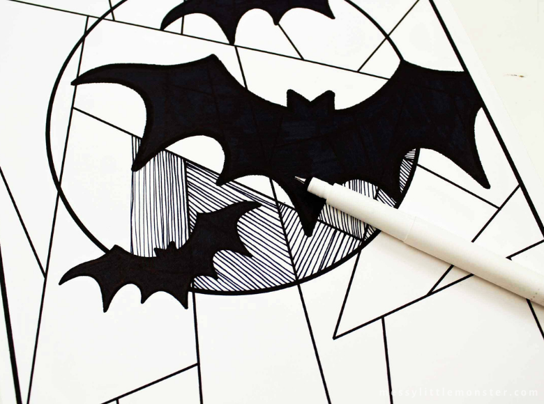 bat line study colouring page for kids