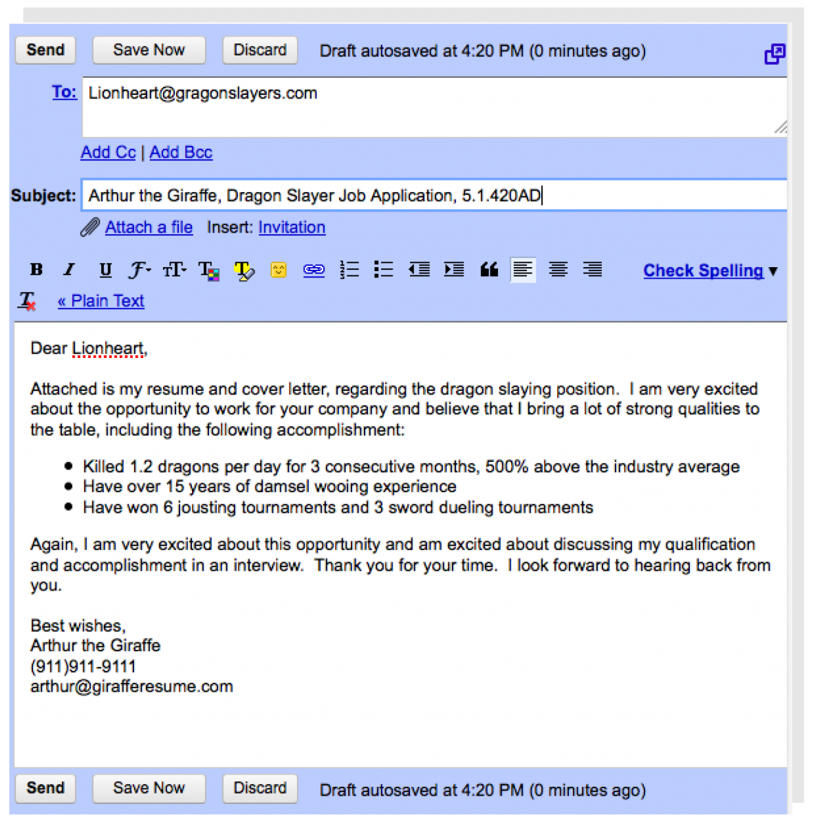 cover letter in email body
