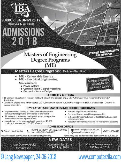 Sukkur IBA University Admissions Fall 2018