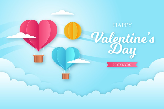 Valentines day background concept in paper style Free Vector