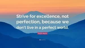 Strive For Excellence Not Perfection Quote