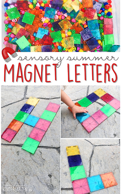 This summer fill your sensory bin with Magnatiles and get ready for lots of fun and exploration! This is the perfect outdoor activity for summer tot school, preschool, or kindergarten!