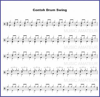 gambar beat drum swing pada not balok