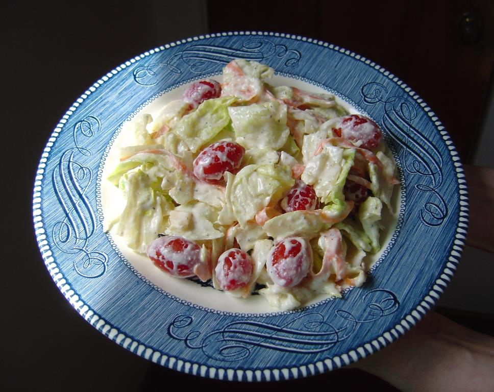 plate of my Creamy, Low-Cal Italian Salad Dressing