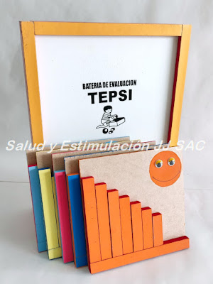 tableros barritas colores anaranjado test tepsi caja malamina