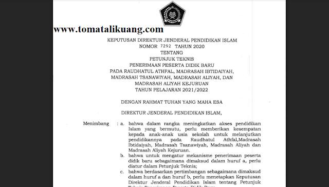 Juknis PPDB Madrasah RA MI MTs MA MAK Tahun Pelajaran 2021/2022 PDF (Resmi)