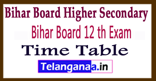 BSEB 12th Exam Time Table 2018