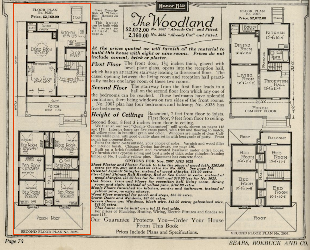 black and white catalogue image of Sears Woodland floor plan