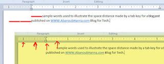 توضيح وظيفة زر تاب tab key فى برامج معالجة النصوص word processing software
