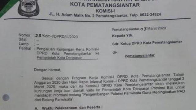 Surat pengajuan kunjungan kerja Anggota DPRD Siantar ke Bali