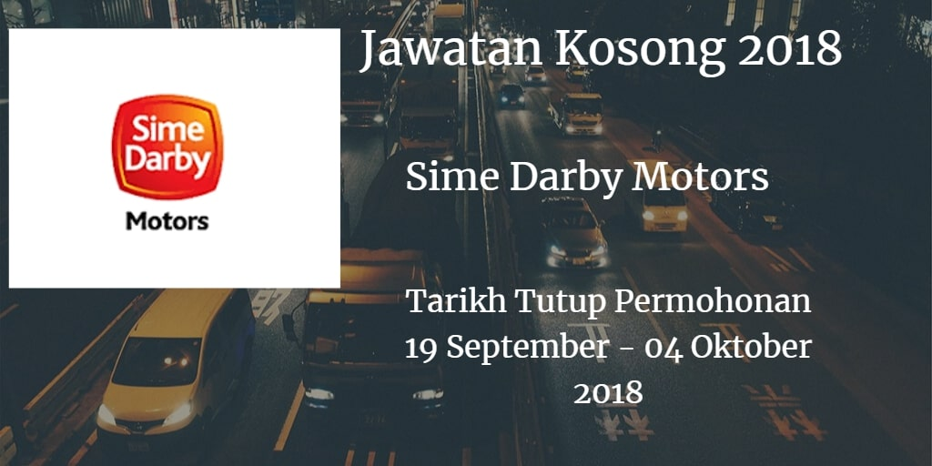 Jawatan Kosong Sime Darby Motors 19 September - 04 Oktober 2018