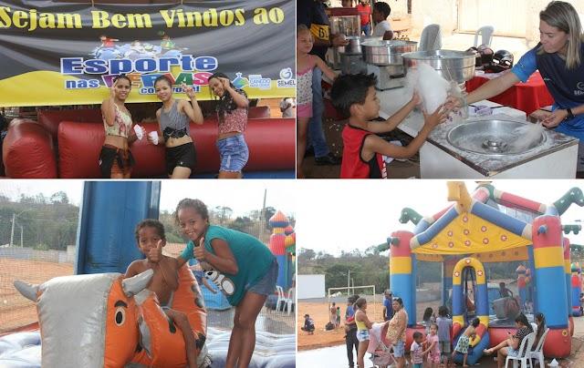 """Senador Canedo: Crianças do Flor do Ipê recebem caravana do """"Esporte nas férias com você"""""""