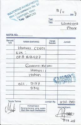Nota Pembelian Huawei C2601 CDMA