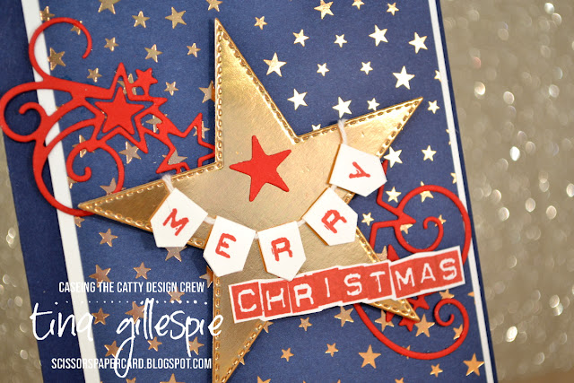 scissorspapercard, Stampin' Up!, CASEing The Catty, Labeler Alphabet, Greatest Part Of Christmas, Brightly Gleaming SDSP, Stitched Stars Dies, Christmas, Copper Foil
