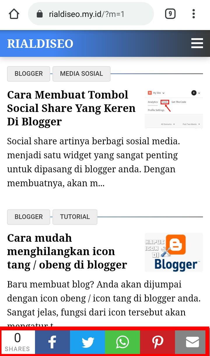 Membuat tombol share di blog