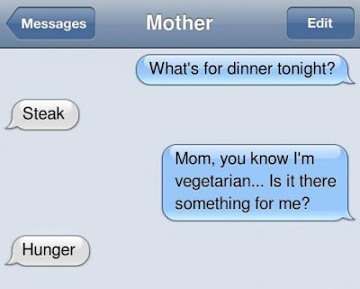Funny What's For Dinner? Mother Text Conversation