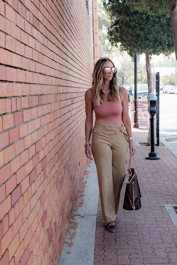 tan wide leg trousers peach bodysuit parlor girl
