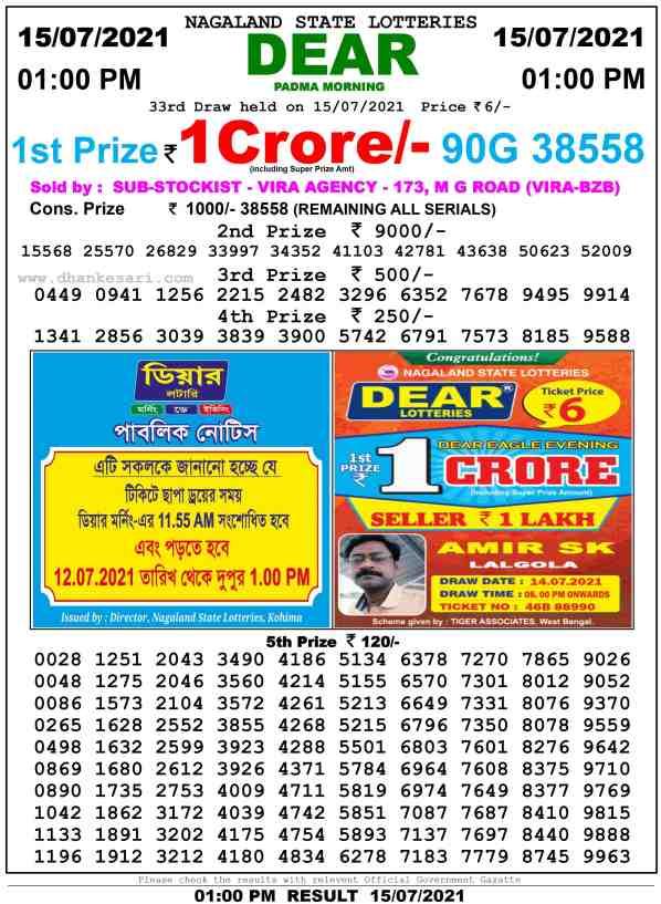 lottery sambad 15 7 2021 morning 1pm