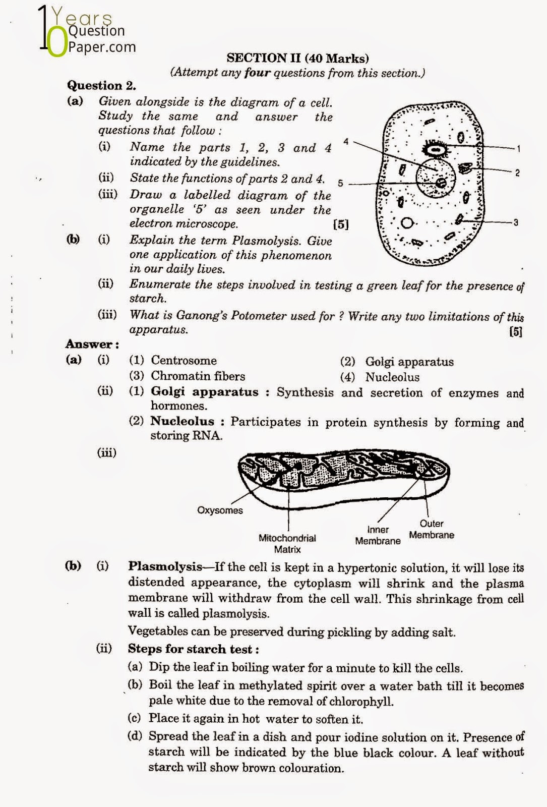 icse class 10th Biology solved question paper 2005