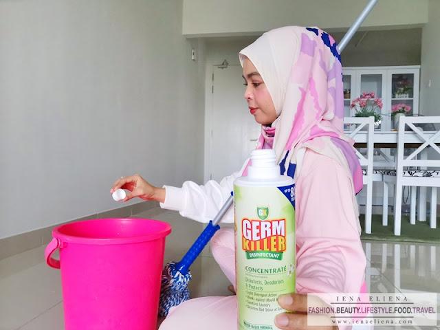 Cik iena gunakan GK Concentrate untuk mop lantai, cik iena gunakan semasa bilasan kedua selepas mop dengan sabun