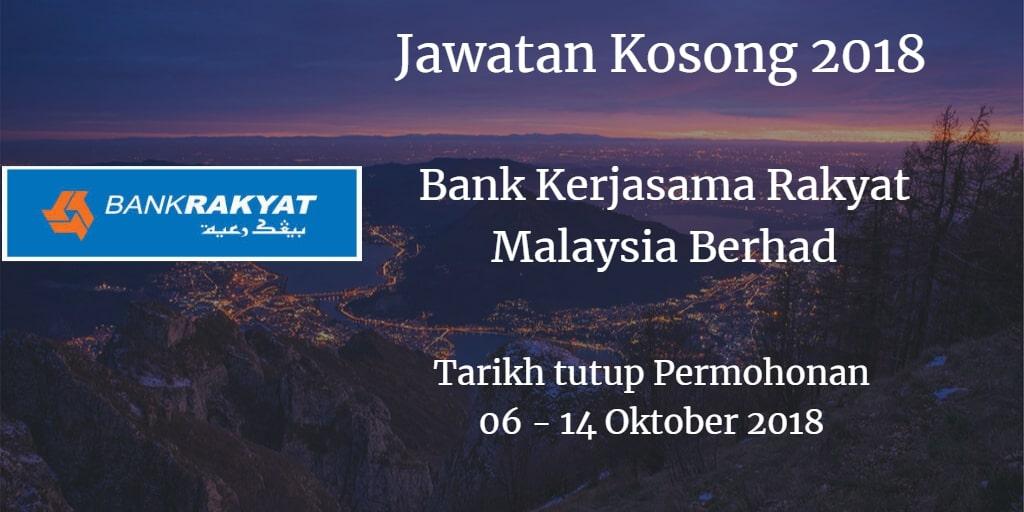 Jawatan Kosong Bank Kerjasama Rakyat Malaysia Berhad 06 - 14 Oktober 2018