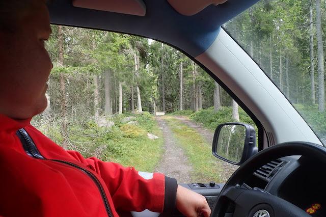 Henkilö katsoo autosta metsätietä, jonka sulkee puomi
