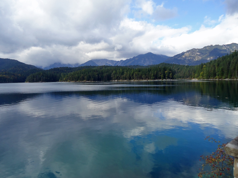 Eibsee in Bavaria, Germany. At the base of the Zugspitze.