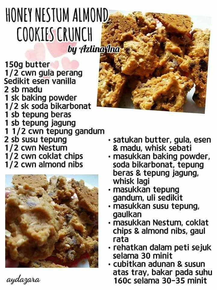 resepi honey nestum almond cookies