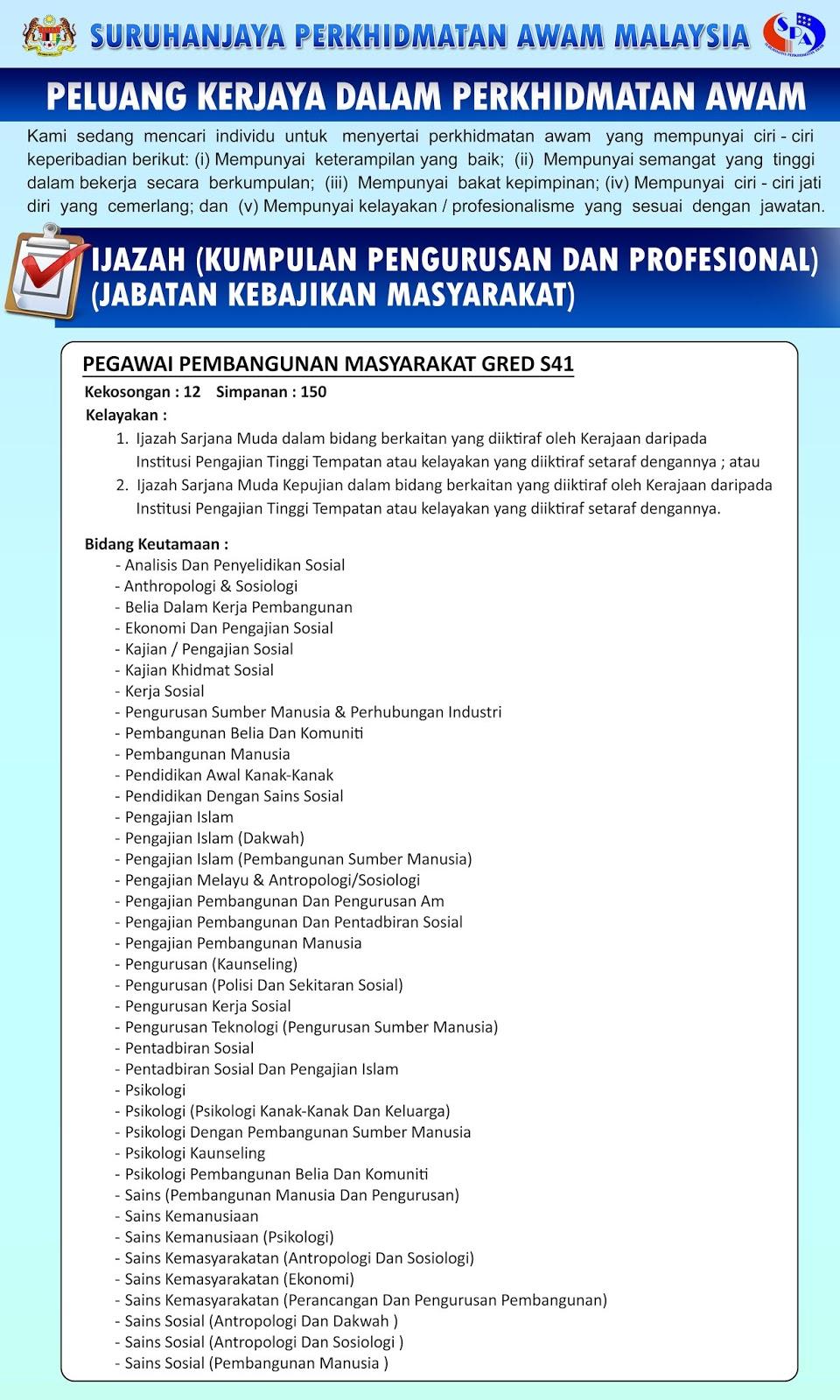 Kekosongan Jawatan Di Jabatan Kebajikan Masyarakat Malaysia Pegawai Pembangunan Masyarakat Gred S41 Semakjawatan Com Jawatan Kosong Terkini