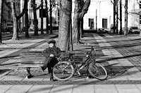 Break in the winter sun - black and white street photography Berlin