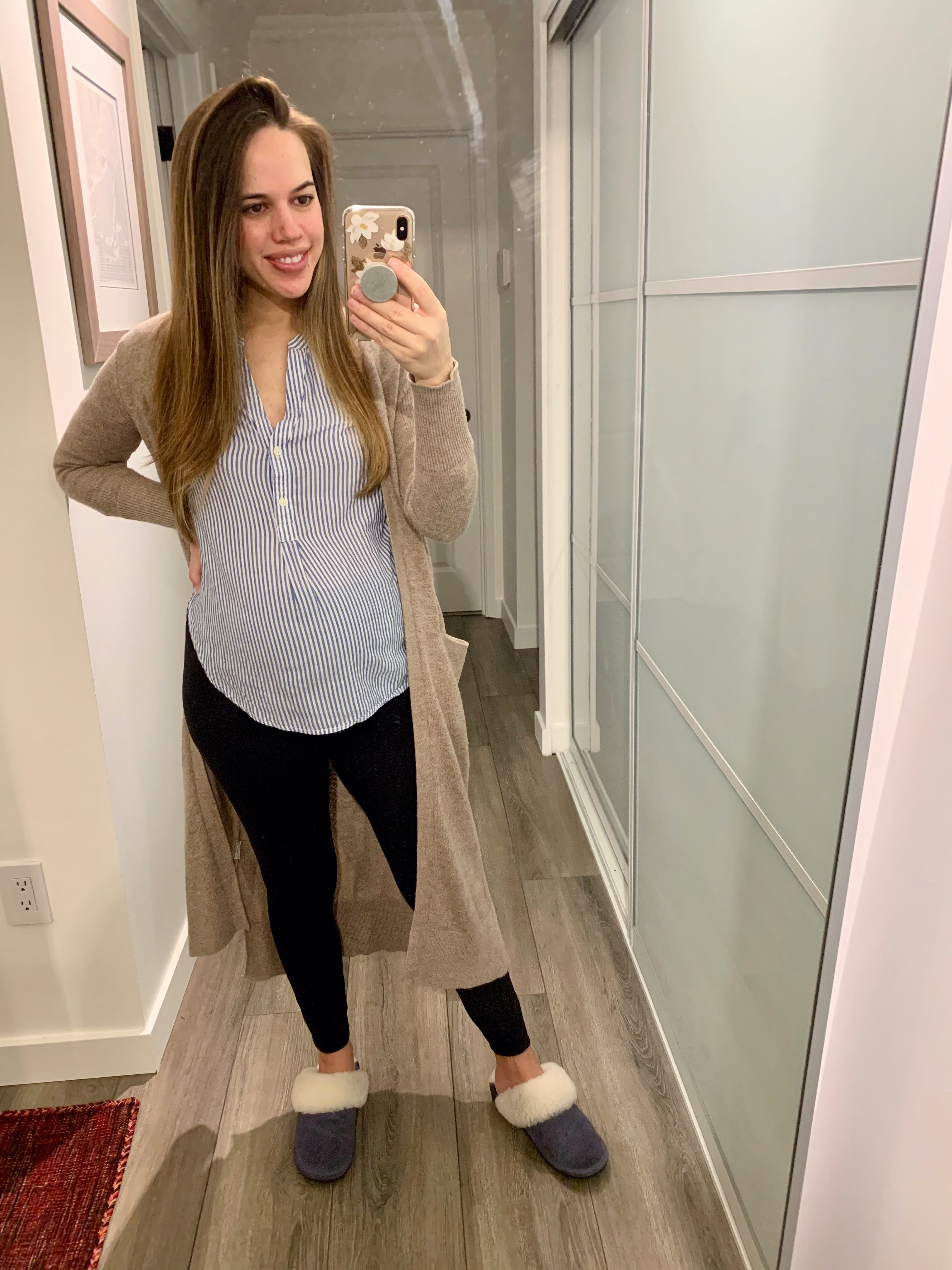 Jules in Flats - Striped Popover Tunic with Leggings & Duster Cardigan to WFH (Business Casual Workwear on a Budget)