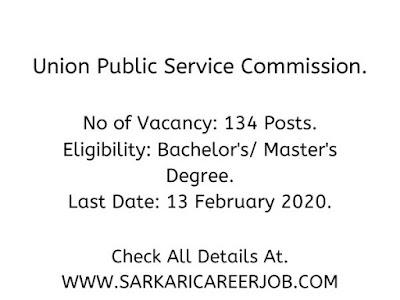 UPSC Requirements 2020 | 134 Various Post UPSC Vacancies 2020.