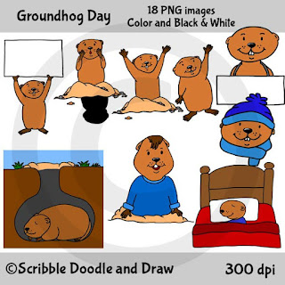 Groundhog day clip art images of groundhogs sleeping and waving and holding signs