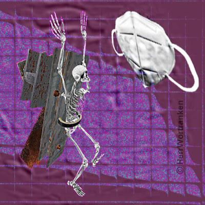 Bildmontage: Wie durch mehrere quadratische Glasbausteine geschaut. Hintergrund in Violett. Davor ein Gerippe, das  beide Arme hochreißt. Auf dem Rücken dieses Knochengerippes befinden sich einige Eisenträger, die mit breitem Gürtel um die Beckenregion befestigt sind. Von rechts oben wird diese Szene von einer großen FFP2 Schutzmaske bedroht, die durch ihre Oberflächenstruktur, wie ein bedrohliches Gesicht wirkt.