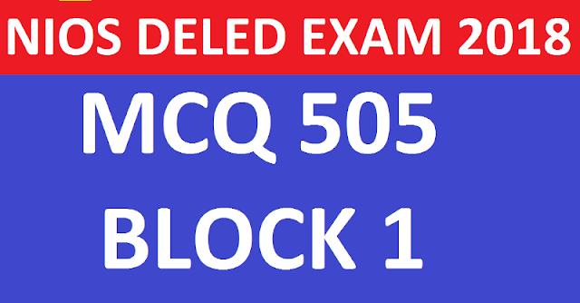 505 BLOCK 1 MCQ