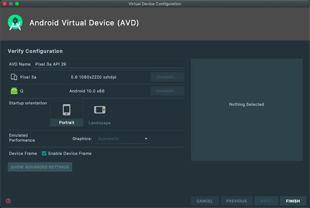 android emulator verify config